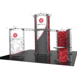 trade show exhibit with meeting areas