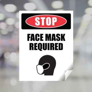 Stop Face Mask Required Window Cling
