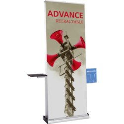 Banner stands with shelf and brochure holder
